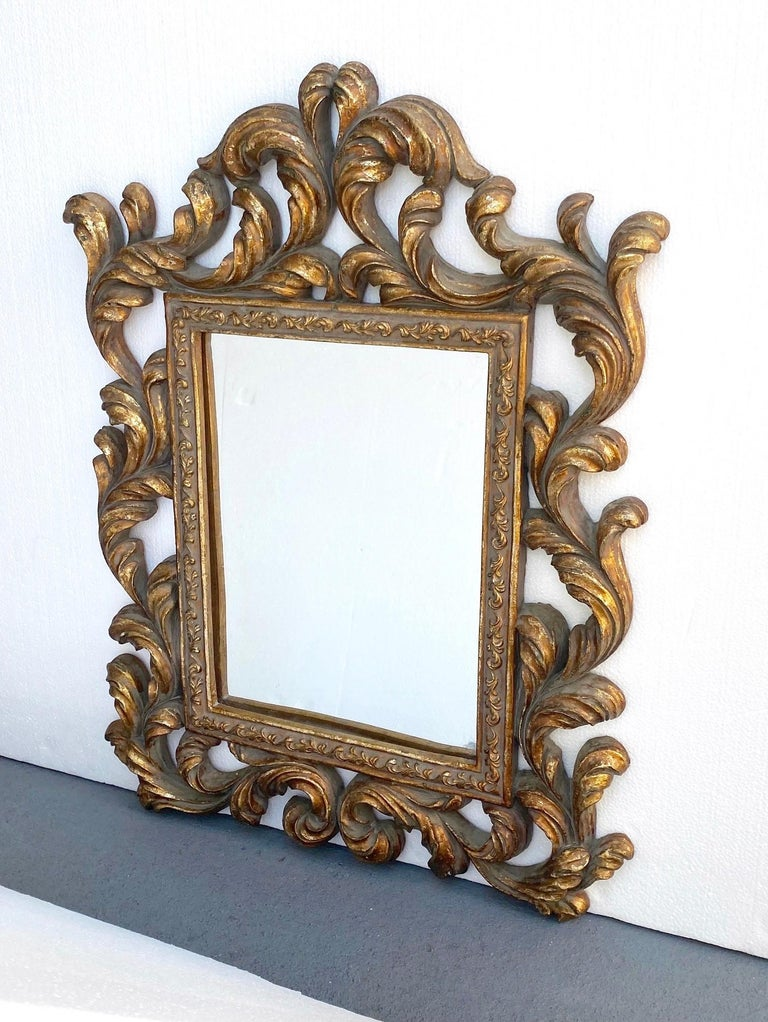 Italian Rococo Small Ornamental Mirror with Carved Giltwood Frame, Italy, circa 1940s For Sale