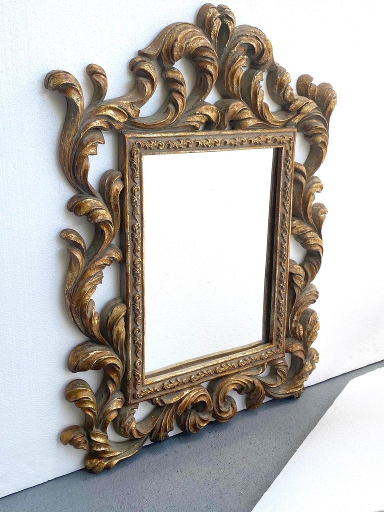 Hand-Carved Rococo Small Ornamental Mirror with Carved Giltwood Frame, Italy, circa 1940s For Sale