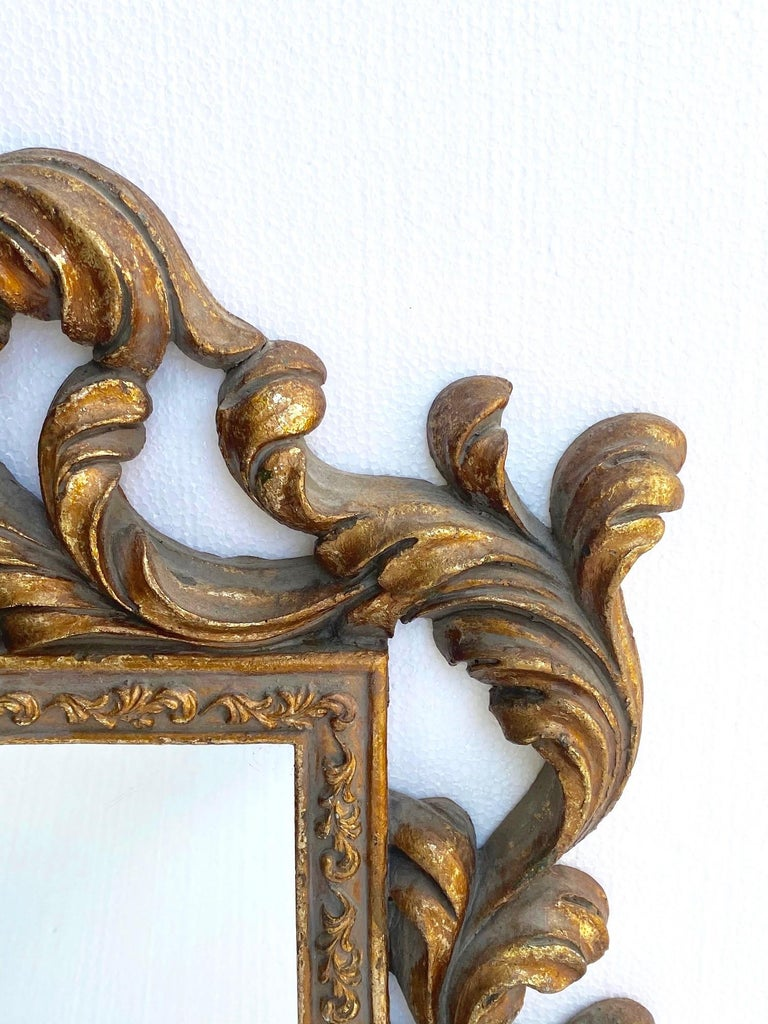 Wood Rococo Small Ornamental Mirror with Carved Giltwood Frame, Italy, circa 1940s For Sale
