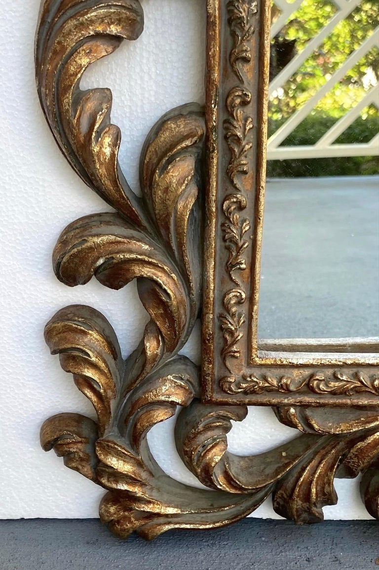 Rococo Small Ornamental Mirror with Carved Giltwood Frame, Italy, circa 1940s For Sale 1