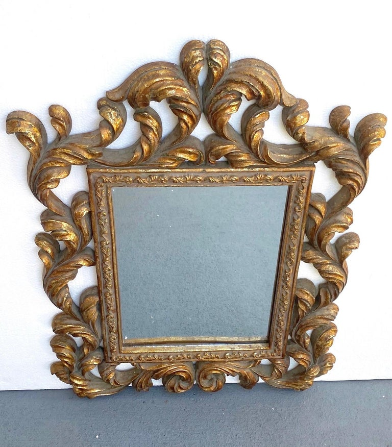 Rococo Small Ornamental Mirror with Carved Giltwood Frame, Italy, circa 1940s For Sale 2
