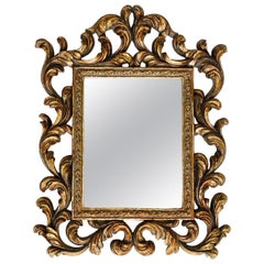Rococo Small Ornamental Mirror with Carved Giltwood Frame, Italy, circa 1940s