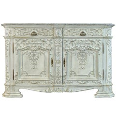 Rococo Style 1850s Belgian Painted Buffet with Drawers, Doors and Carved Décor