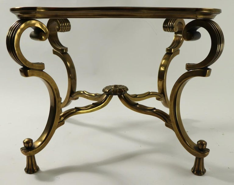 Rococo Style Brass and Glass Side Table Attributed to Mastercraft For Sale 4