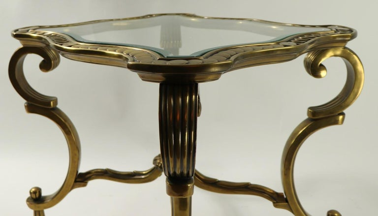 Rococo Style Brass and Glass Side Table Attributed to Mastercraft For Sale 5