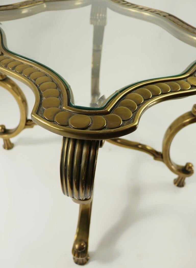 Rococo Style Brass and Glass Side Table Attributed to Mastercraft For Sale 9