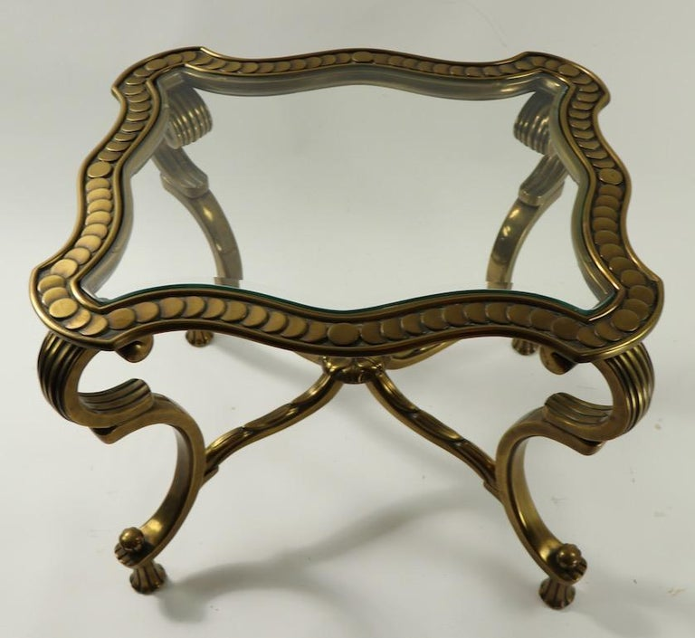 American Rococo Style Brass and Glass Side Table Attributed to Mastercraft For Sale