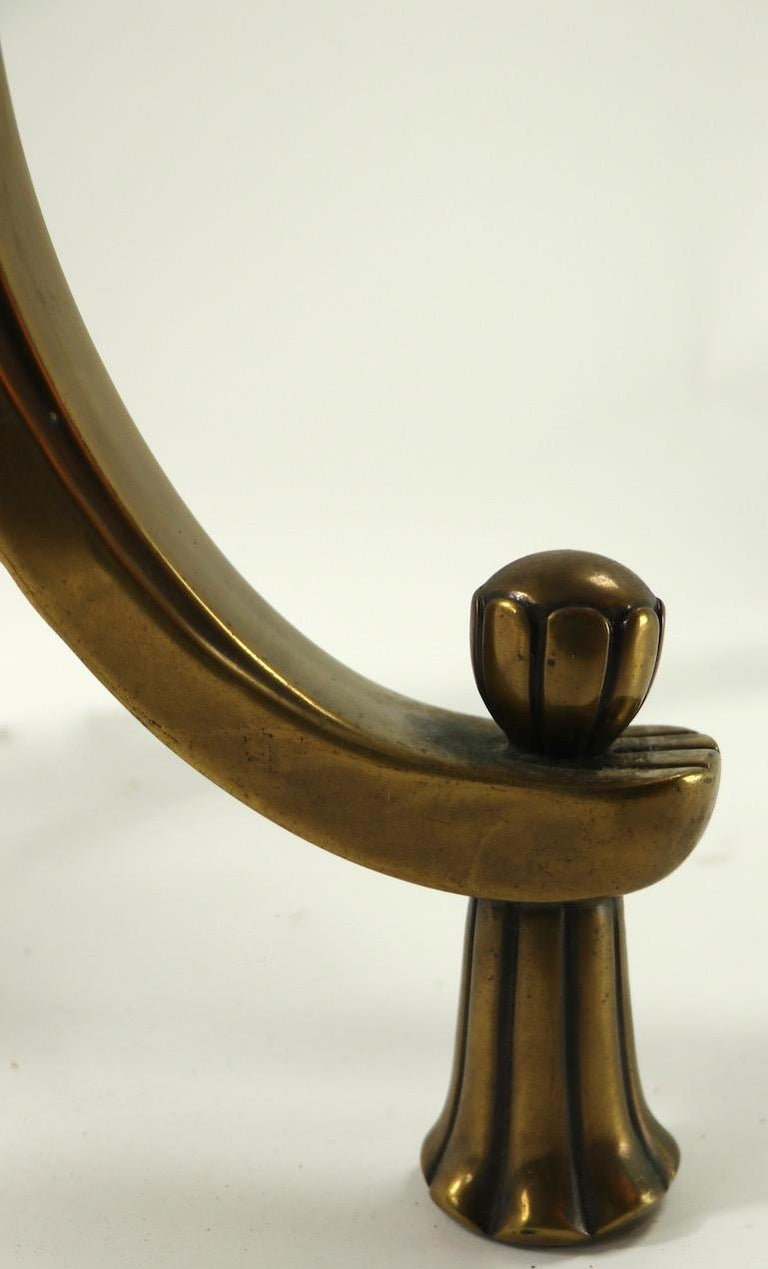 Rococo Style Brass and Glass Side Table Attributed to Mastercraft For Sale 1
