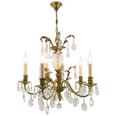 Rococo Style Bronze and Crystal Five-Light Chandelier