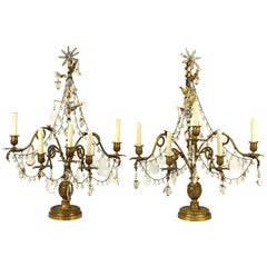 Rococo Style Bronze Girandole Table Lamps with Snakes and Crystals