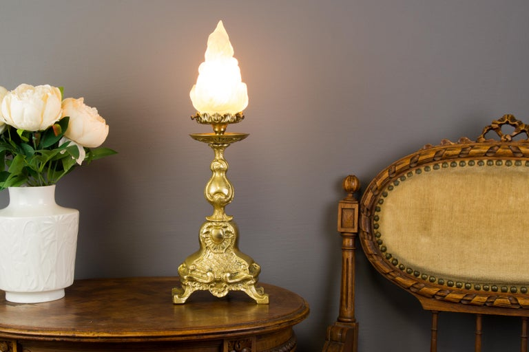 French Rococo Style Bronze Table Lamp with White Frosted Glass Flame Shade For Sale
