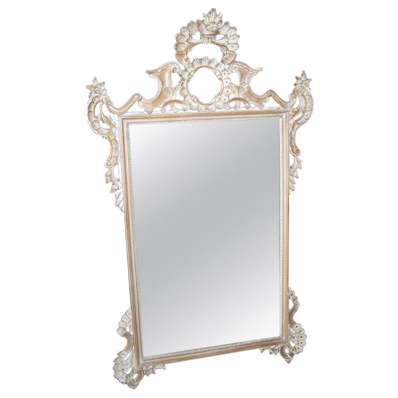 Rococo Style Carved Mirror Italian Mid Century