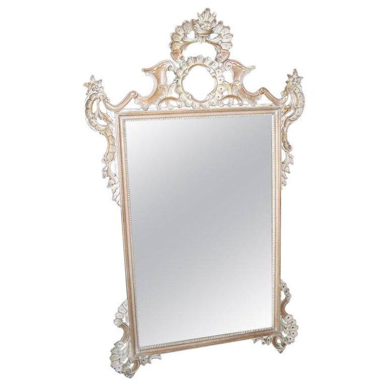 Rococo Style Carved Mirror Italian Mid Century For Sale