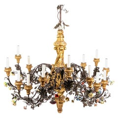 Rococo Style Chandelier in Giltwood, Wrought Iron and Porcelain, circa 1880