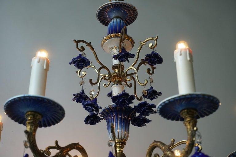 Rococo Style Chandelier, Porcelain Flowers, Rocaille Pattern For Sale 2