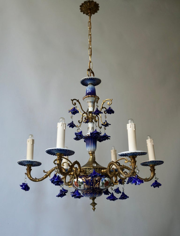 Very rare on the market, impressive neo-Rococo metal chandelier, beautifully decorated with purple porcelain applications and roses flowers.