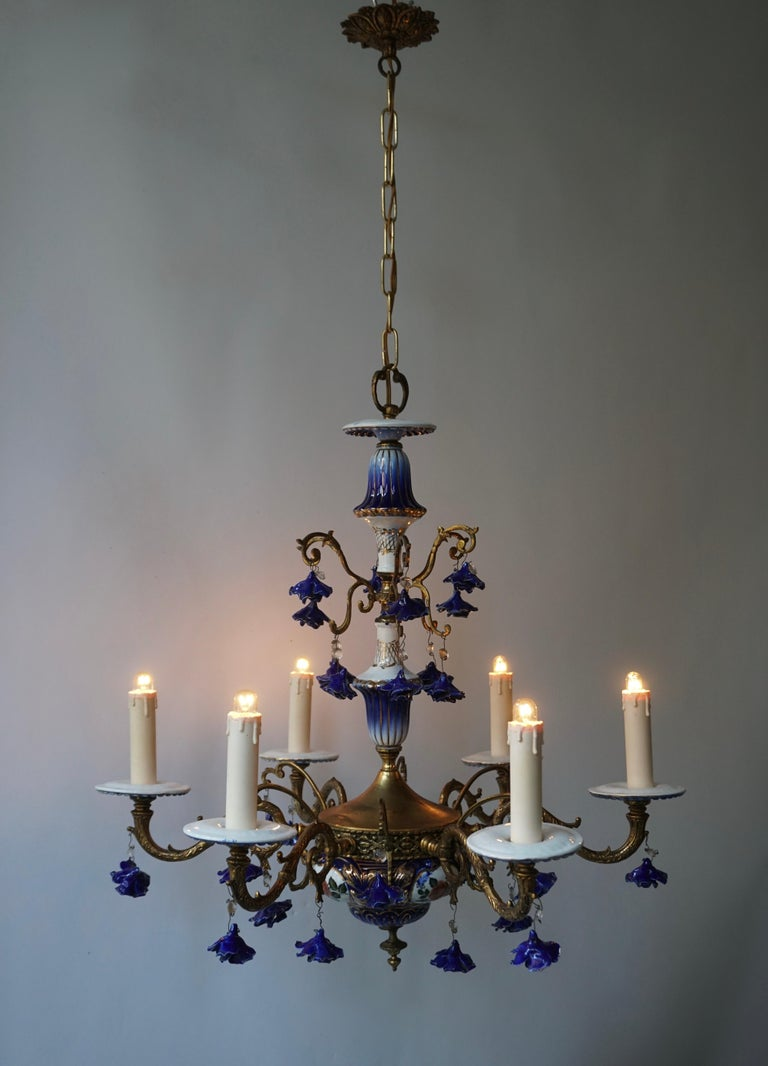 Italian Rococo Style Chandelier, Porcelain Flowers, Rocaille Pattern For Sale