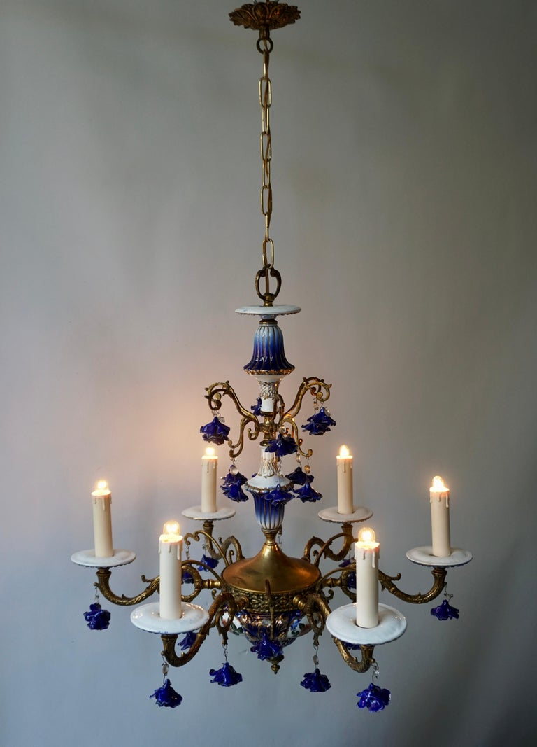 Hand-Painted Rococo Style Chandelier, Porcelain Flowers, Rocaille Pattern For Sale