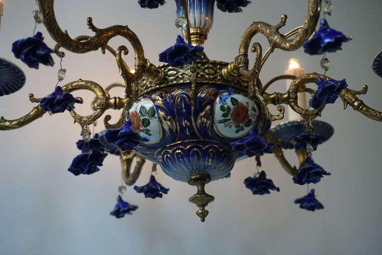 Rococo Style Chandelier, Porcelain Flowers, Rocaille Pattern For Sale 1