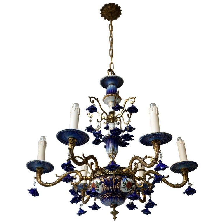 Rococo Style Chandelier, Porcelain Flowers, Rocaille Pattern For Sale
