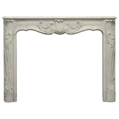 Rococo Style Fireplace Mantel in White Marble
