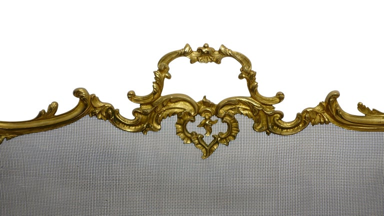 Fanciful gilt brass fireplace screen in the style of French Rococo, with C-scrolls, flowers shell shape pad feed, and a central medallion of overflowing flower basket, French, mid-20th century.