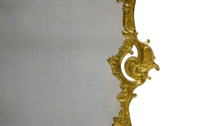 French Rococo Style Gilt Brass Fireplace Screen For Sale