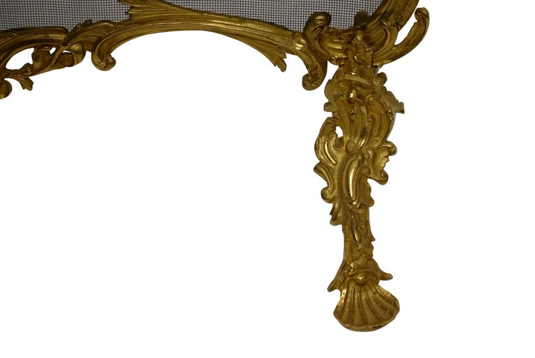 20th Century Rococo Style Gilt Brass Fireplace Screen For Sale