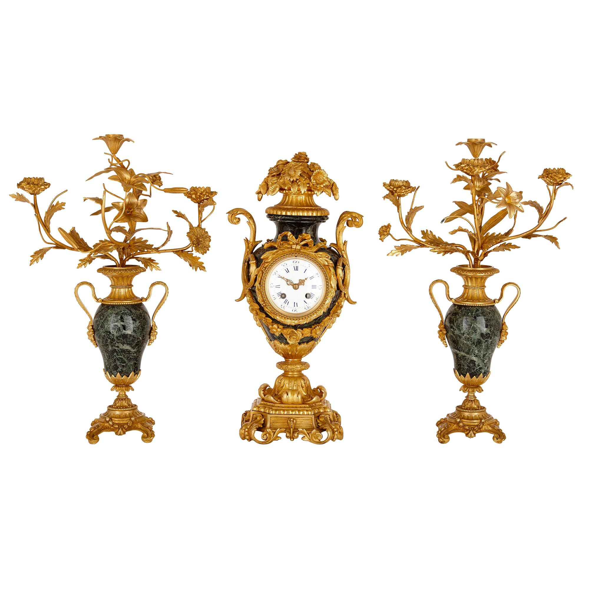 Rococo Style Gilt Bronze and Marble Three-Piece Clock Set