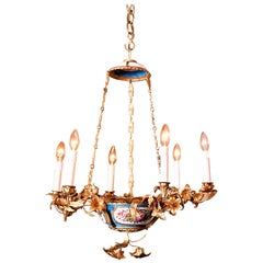 Rococo Style Gilt Bronze and Porcelain Six Light Chandelier, Europe, circa 1890