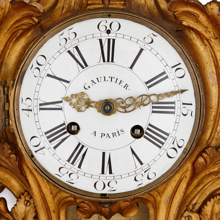 In their elaborate use of C-scrolls, putti figures, stylised acanthus leaves and flowers, this clock and barometer are clearly Rococo in their style. The Rococo came into fashion in France during the reign of King Louis XV (1710-74) and because of