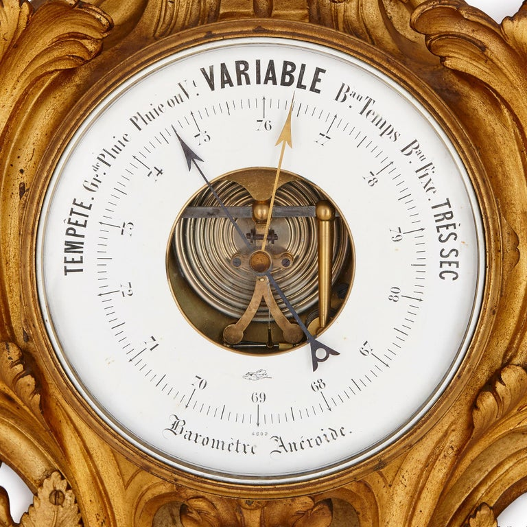 French Rococo Style Gilt Bronze Cartel Clock and Barometer For Sale