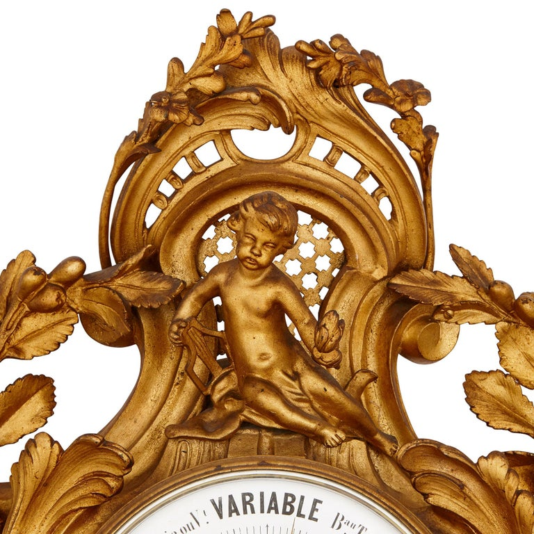 Rococo Style Gilt Bronze Cartel Clock and Barometer In Good Condition For Sale In London, GB