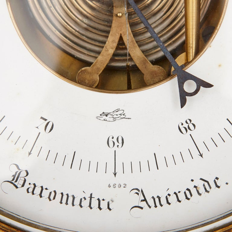 19th Century Rococo Style Gilt Bronze Cartel Clock and Barometer For Sale