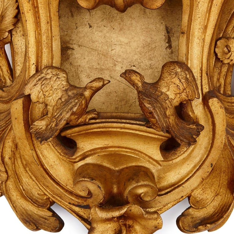 Ormolu Rococo Style Gilt Bronze Cartel Clock and Barometer For Sale