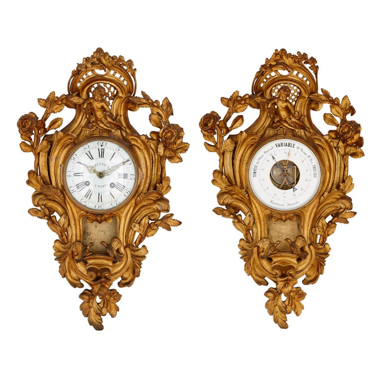 Rococo Style Gilt Bronze Cartel Clock and Barometer For Sale
