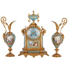 Rococo Style Gilt Bronze Mounted Porcelain Clock Garniture