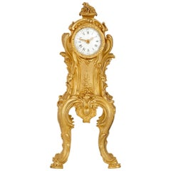 Rococo Style Gilt Bronze Table Clock after Passemant and Caffiéri