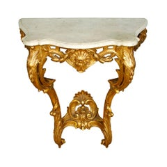 Rococo Style Gilt Marble-Top Wall Mounted Console