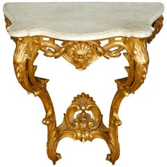 Rococo Style Giltwood Marble Top Console