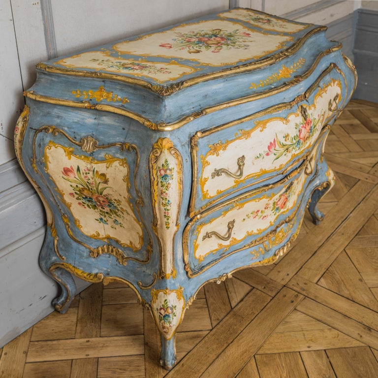 20th Century Rococo Style Hand Painted Venetian Bombe Chest of Drawers, Early 1900's For Sale
