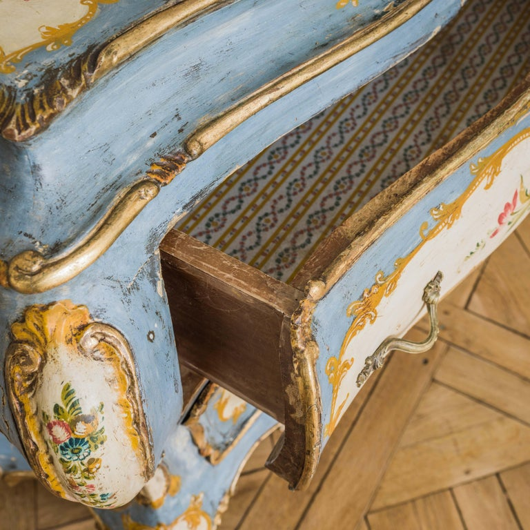 Wood Rococo Style Hand Painted Venetian Bombe Chest of Drawers, Early 1900's For Sale