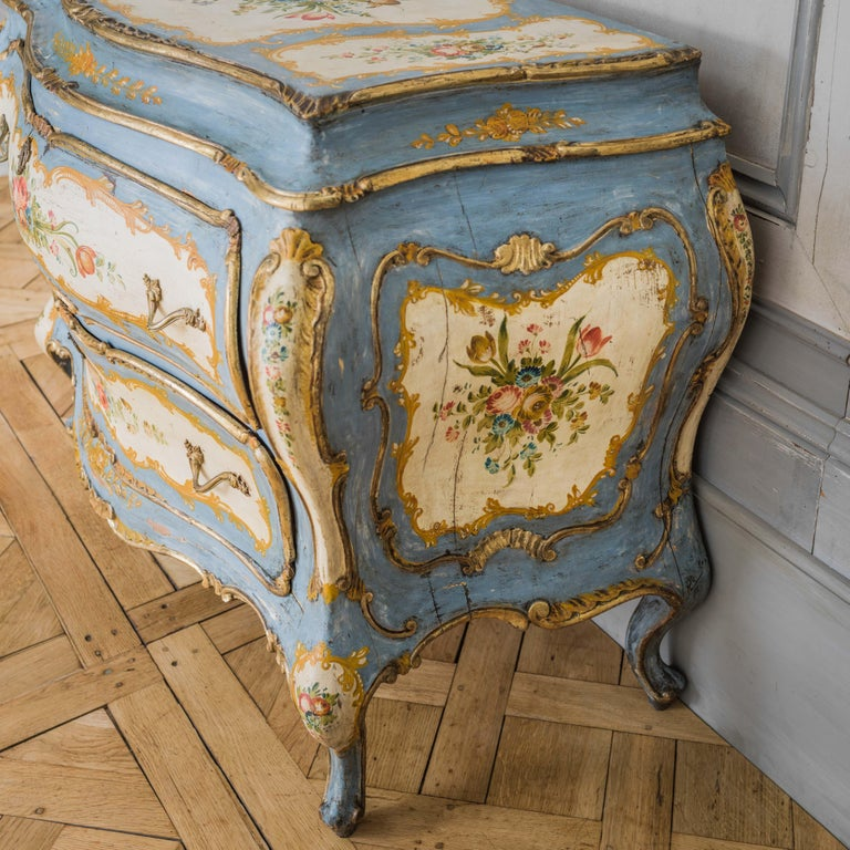 Rococo Style Hand Painted Venetian Bombe Chest of Drawers, Early 1900's For Sale 1