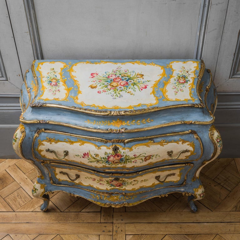 Rococo Style Hand Painted Venetian Bombe Chest of Drawers, Early 1900's For Sale 2