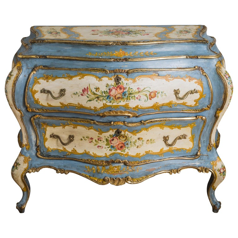 Rococo Style Hand Painted Venetian Bombe Chest of Drawers, Early 1900's For Sale