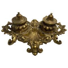 Rococo Style Heavy Bronze Inkwell