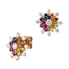 Rococo Style Multi Sapphire RubyStud Earrings 18 K Pink Gold for Her