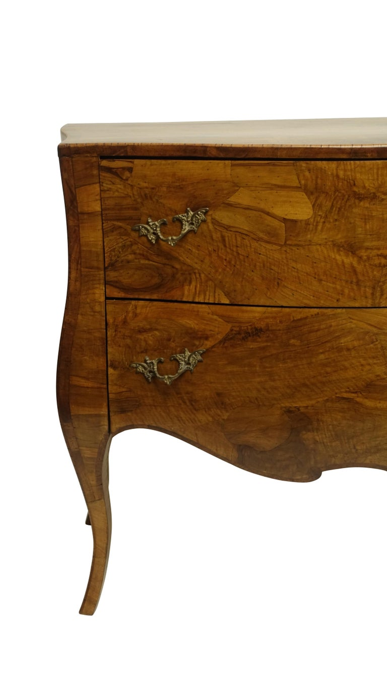 Rococo Style Olive Wood and Walnut Chest of Drawers, Italian In Good Condition For Sale In San Francisco, CA