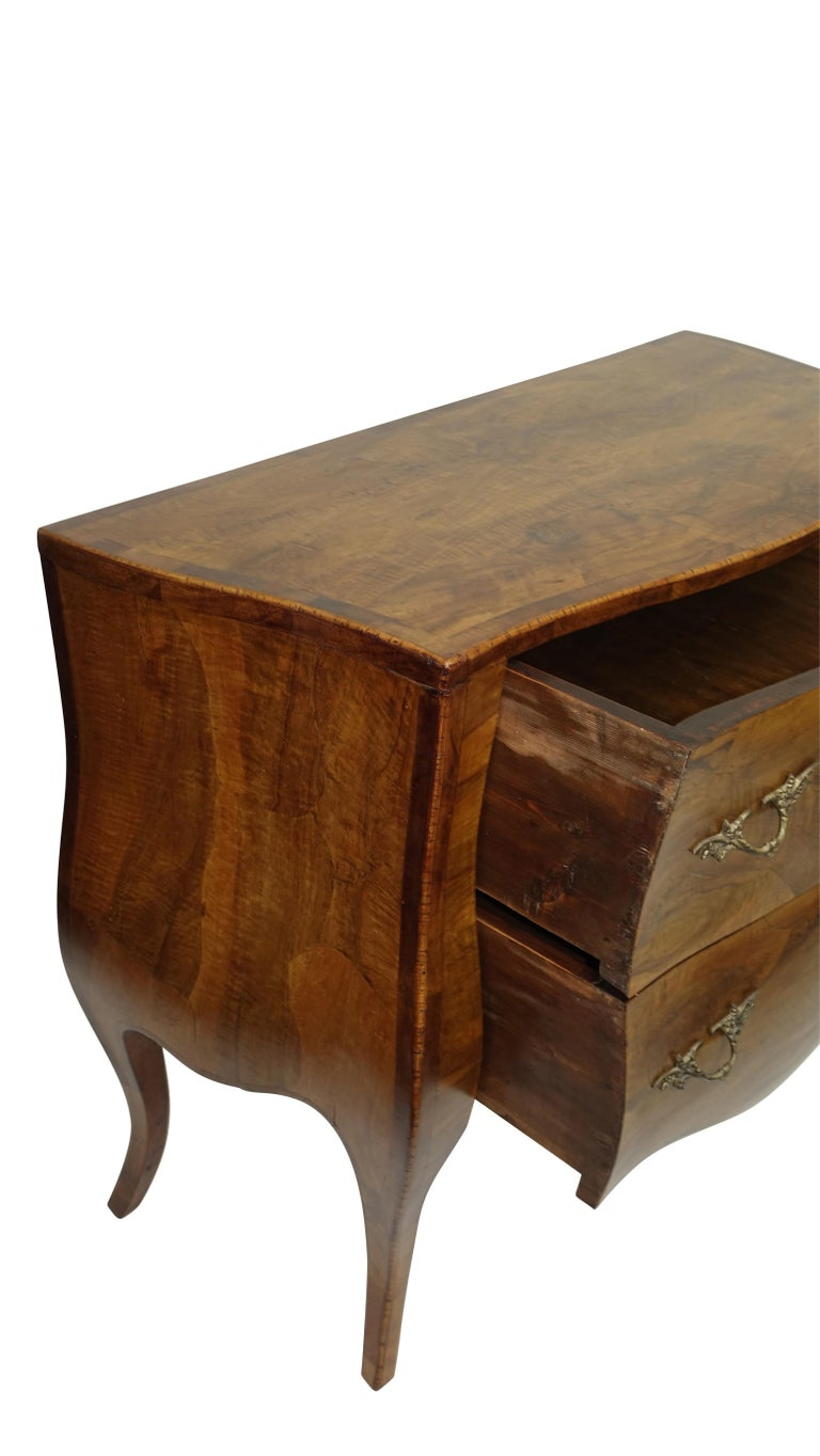 Rococo Style Olive Wood and Walnut Chest of Drawers, Italian For Sale 2