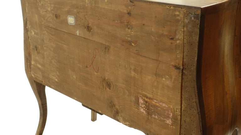 Rococo Style Olive Wood and Walnut Chest of Drawers, Italian For Sale 4